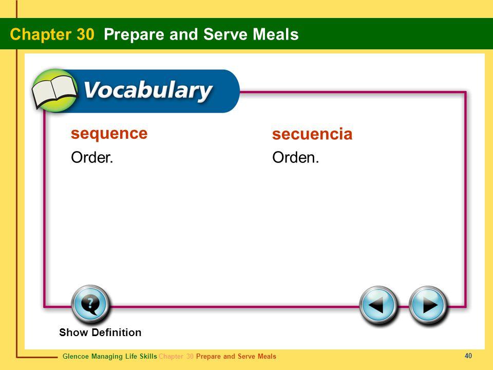 sequence secuencia Order. Orden. Show Definition