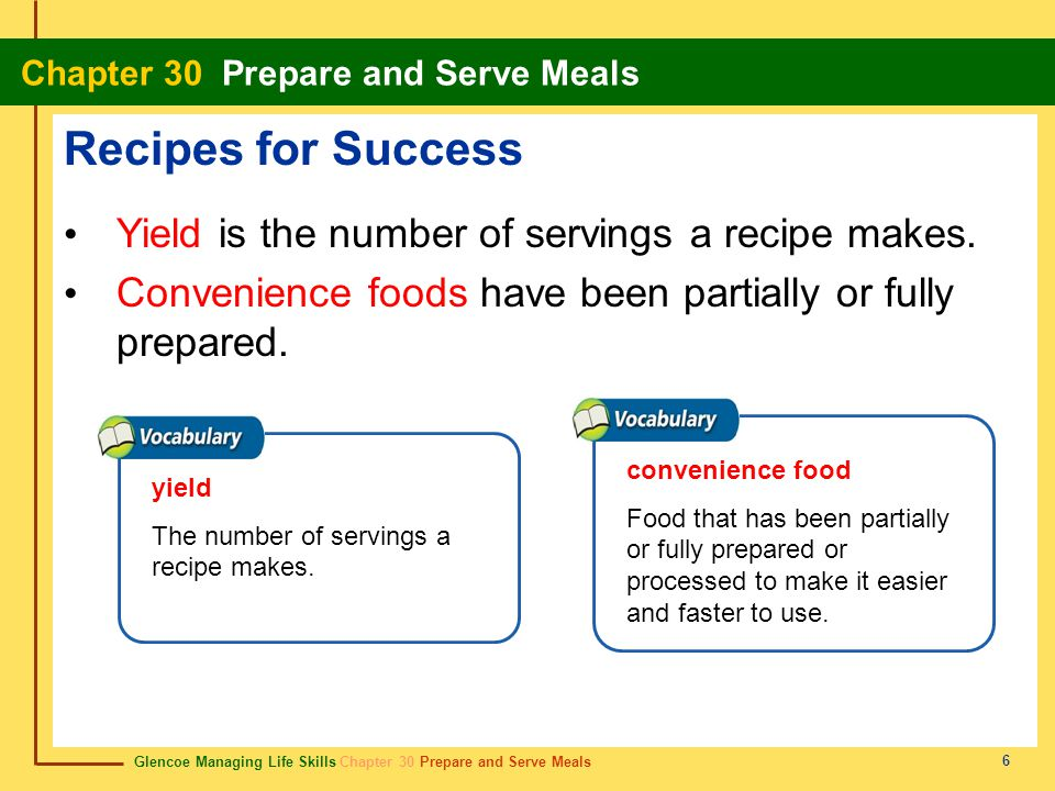 Recipes for Success Yield is the number of servings a recipe makes.