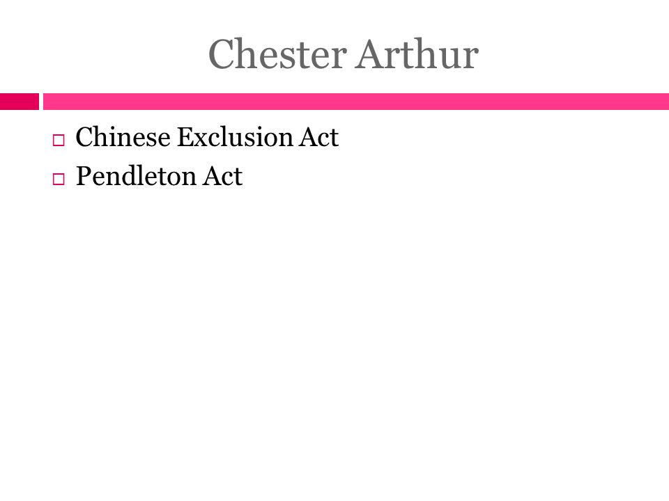 Chester Arthur Chinese Exclusion Act Pendleton Act
