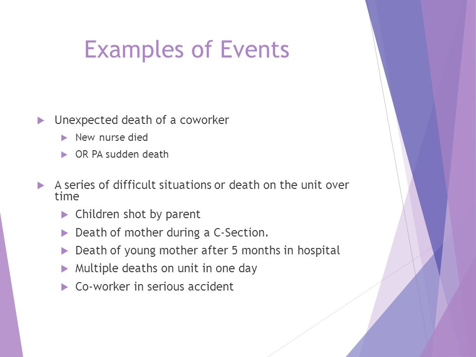 Examples of Events Unexpected death of a coworker