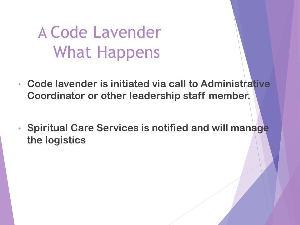 A Code Lavender What Happens