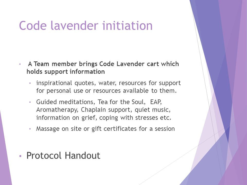 Code lavender initiation