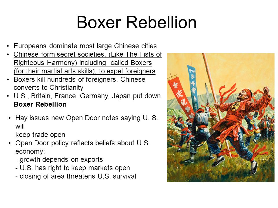 Boxer Rebellion • Europeans dominate most large Chinese cities