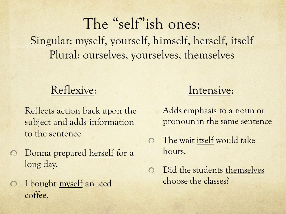 The self ish ones: Singular: myself, yourself, himself, herself, itself Plural: ourselves, yourselves, themselves
