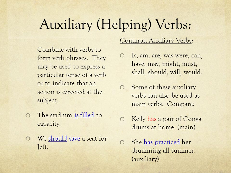 Auxiliary (Helping) Verbs: