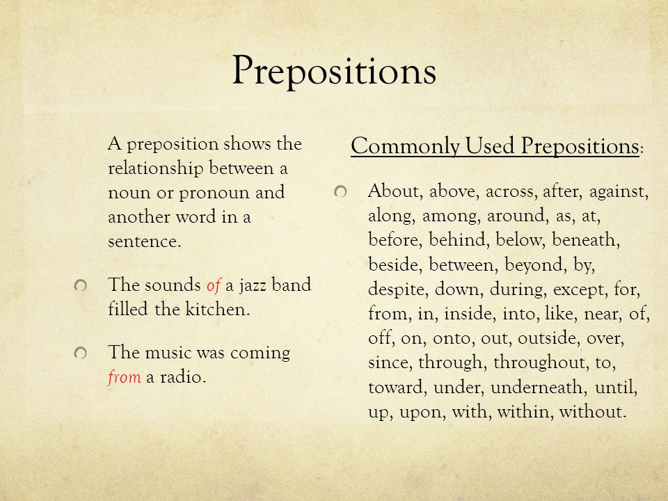 Commonly Used Prepositions: