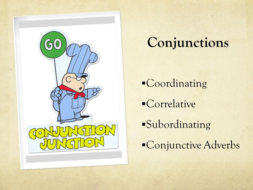 Conjunctions Coordinating Correlative Subordinating