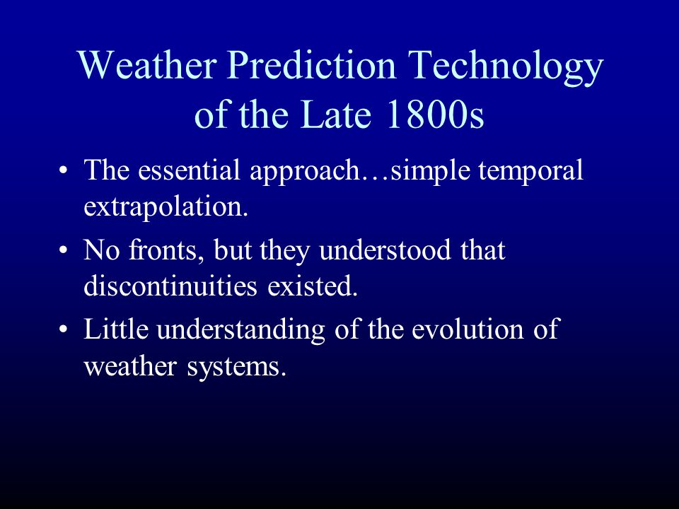 Weather Prediction Technology of the Late 1800s