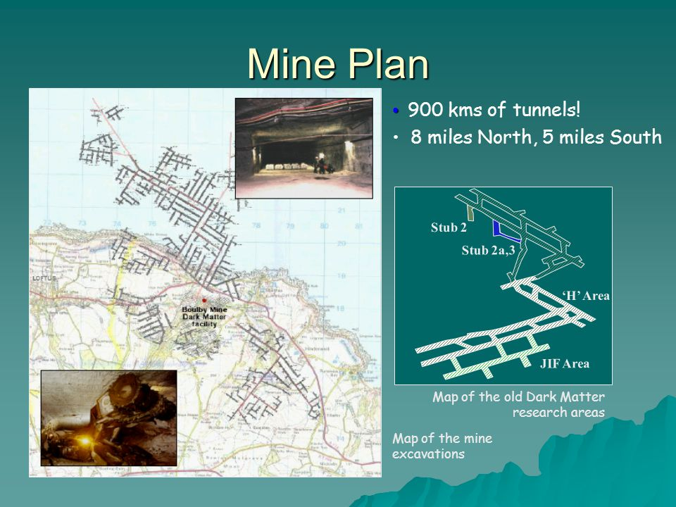 Mine Plan 900 kms of tunnels! 8 miles North, 5 miles South Stub 2