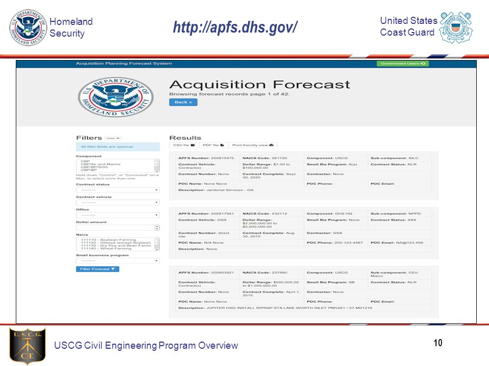 http://apfs.dhs.gov/ Here's an example of a search capabilities on the APFS site.