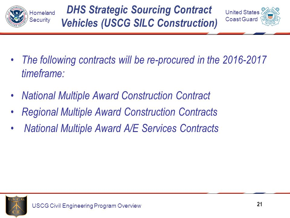 DHS Strategic Sourcing Contract Vehicles (USCG SILC Construction)
