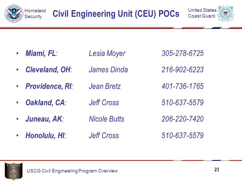 Civil Engineering Unit (CEU) POCs