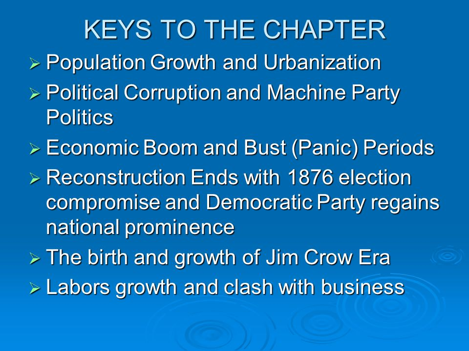 KEYS TO THE CHAPTER Population Growth and Urbanization