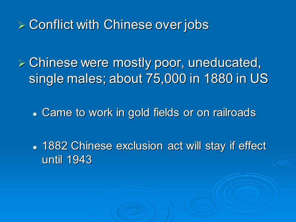 Conflict with Chinese over jobs