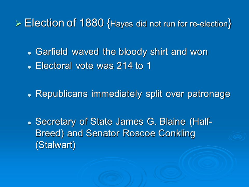 Election of 1880 {Hayes did not run for re-election}
