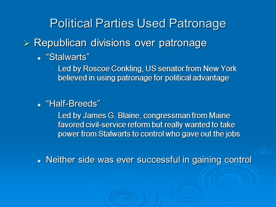 Political Parties Used Patronage