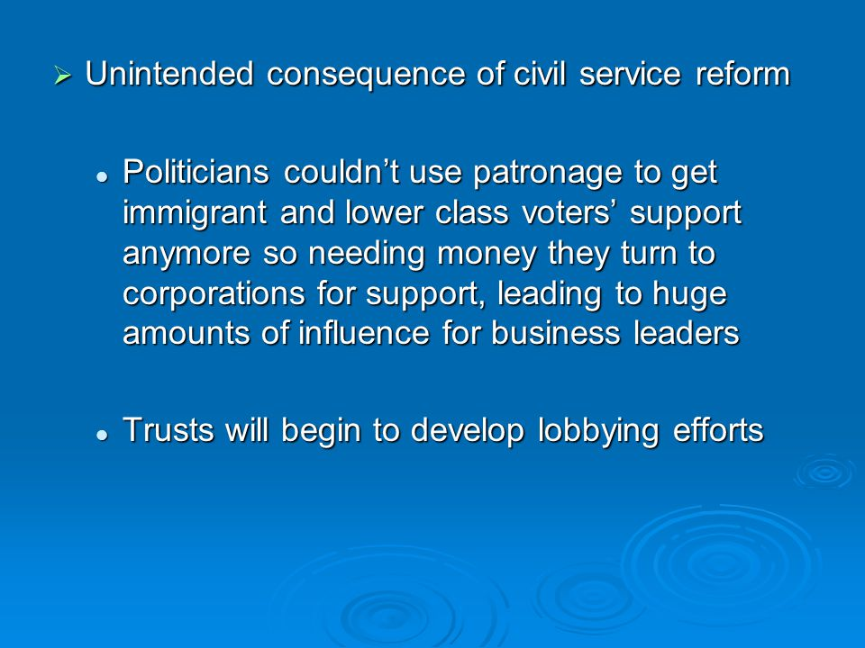 Unintended consequence of civil service reform