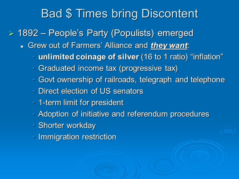 Bad $ Times bring Discontent