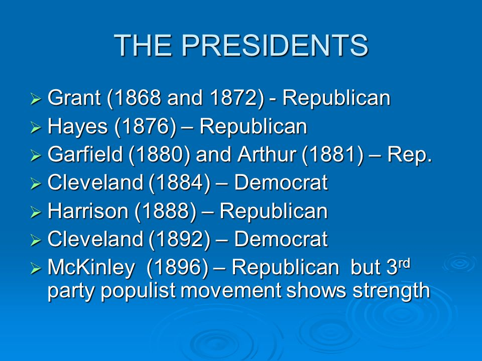 THE PRESIDENTS Grant (1868 and 1872) - Republican
