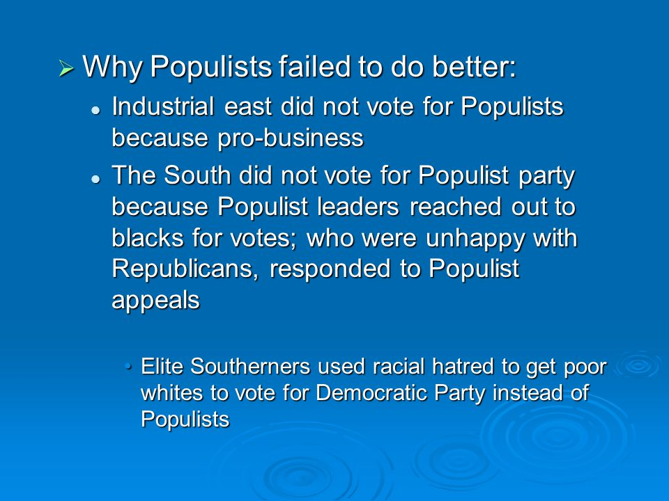 Why Populists failed to do better: