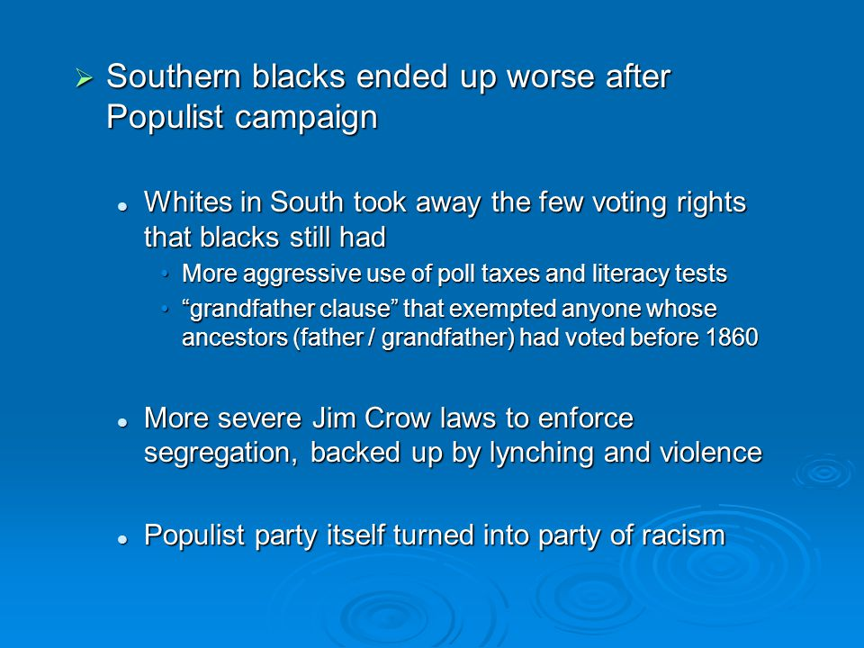 Southern blacks ended up worse after Populist campaign