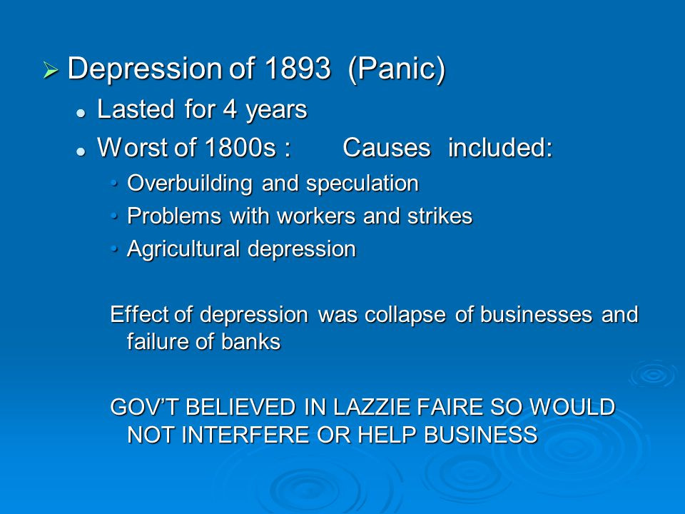 Depression of 1893 (Panic) Lasted for 4 years