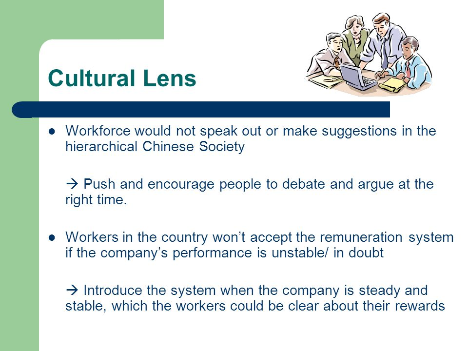 Cultural Lens Workforce would not speak out or make suggestions in the hierarchical Chinese Society.