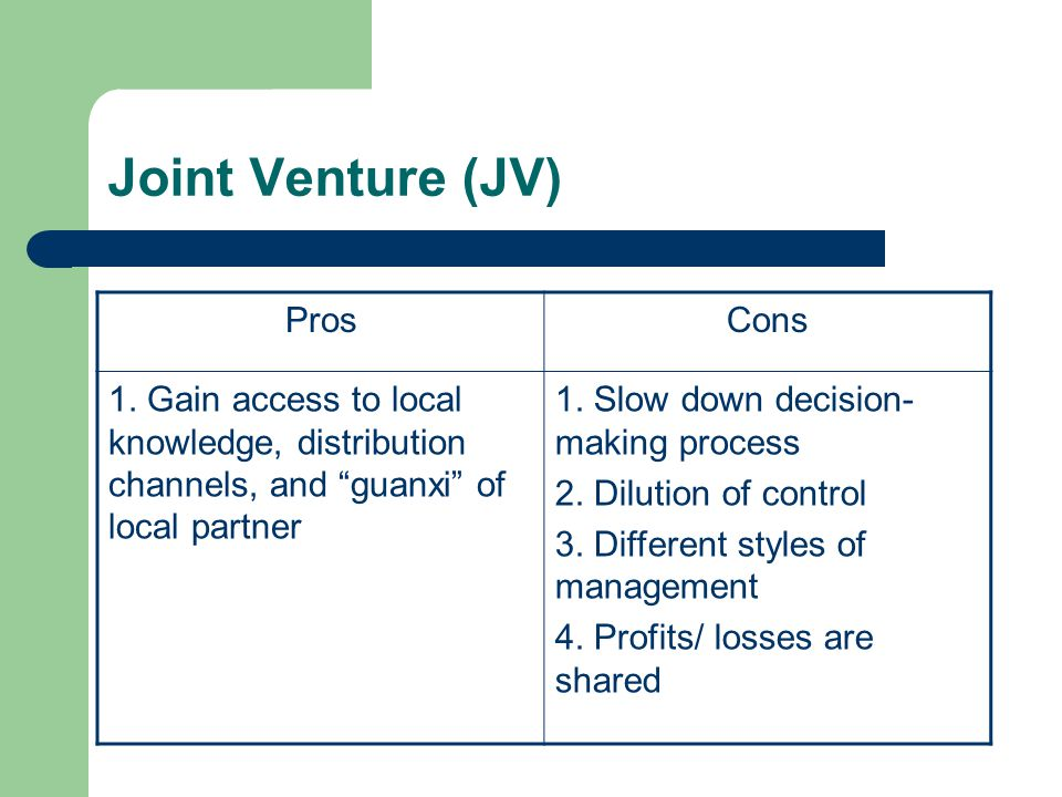 Joint Venture (JV) Pros Cons