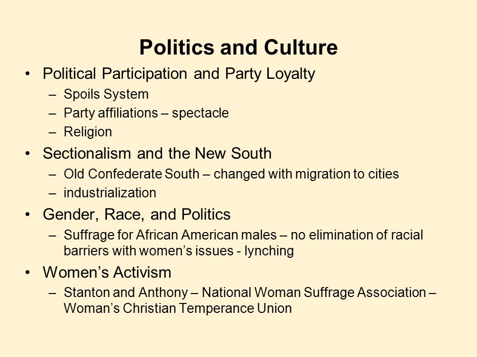 Politics and Culture Political Participation and Party Loyalty