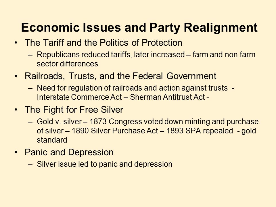 Economic Issues and Party Realignment
