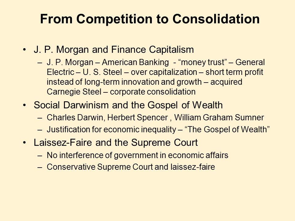 From Competition to Consolidation