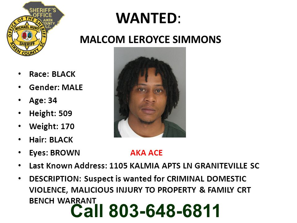 WANTED: MALCOM LEROYCE SIMMONS