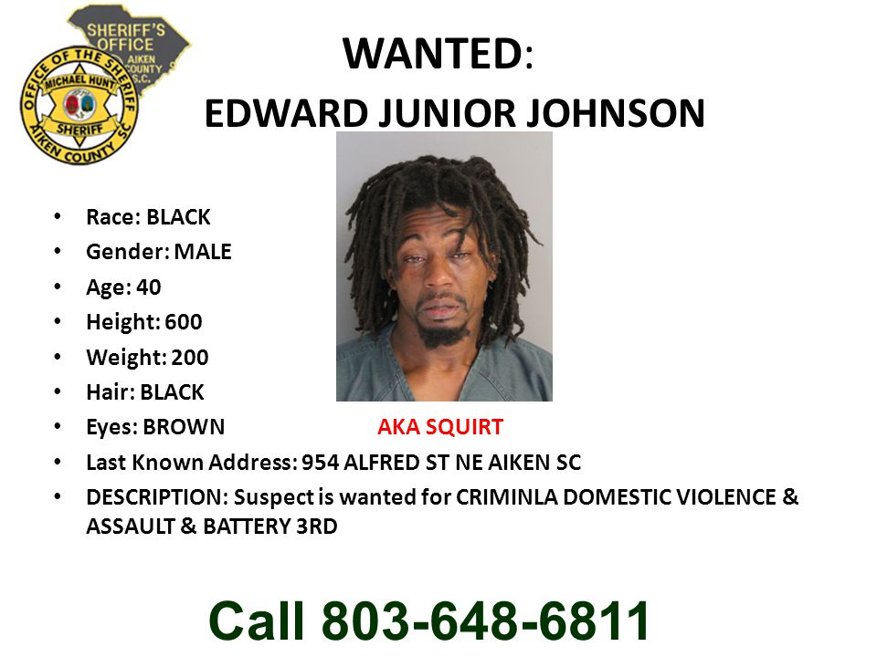 WANTED: EDWARD JUNIOR JOHNSON