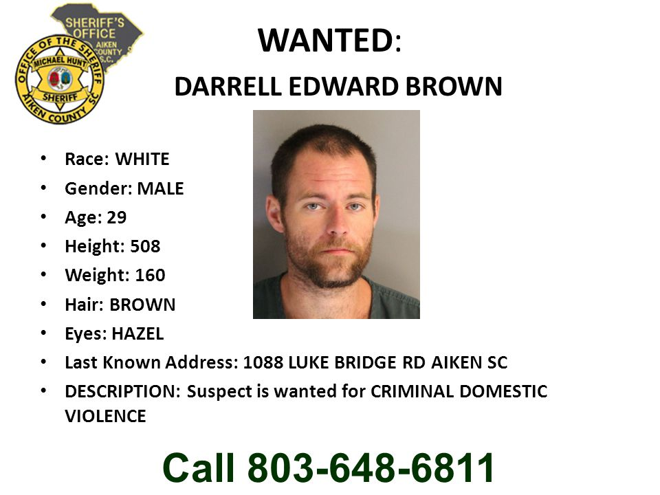 WANTED: DARRELL EDWARD BROWN