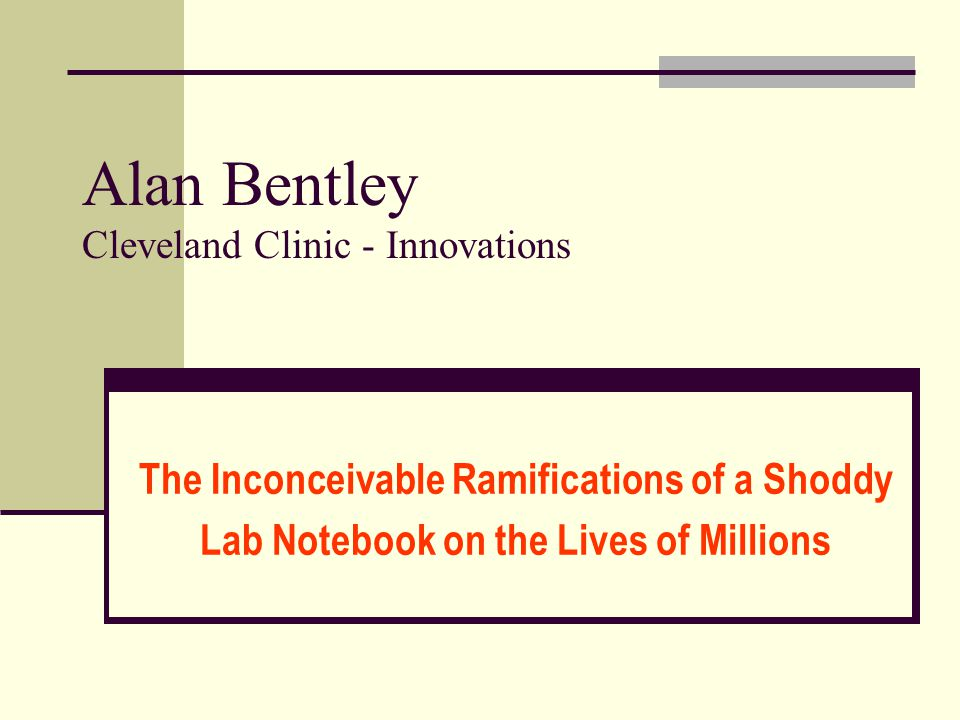 Alan Bentley Cleveland Clinic - Innovations