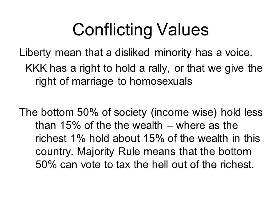 Conflicting Values Liberty mean that a disliked minority has a voice.