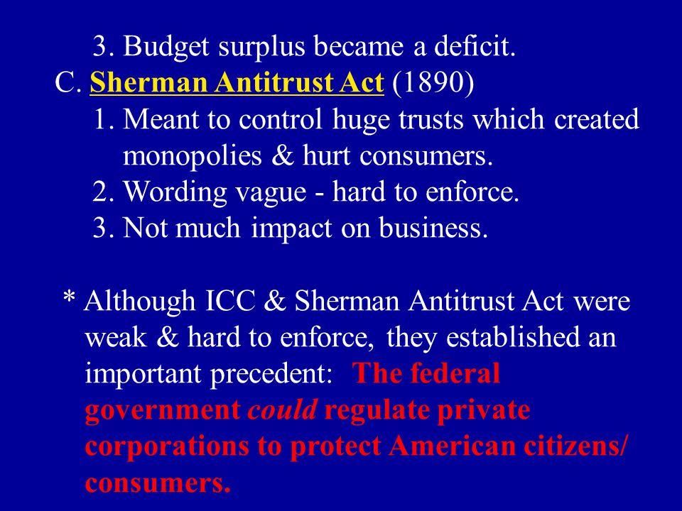 3. Budget surplus became a deficit.