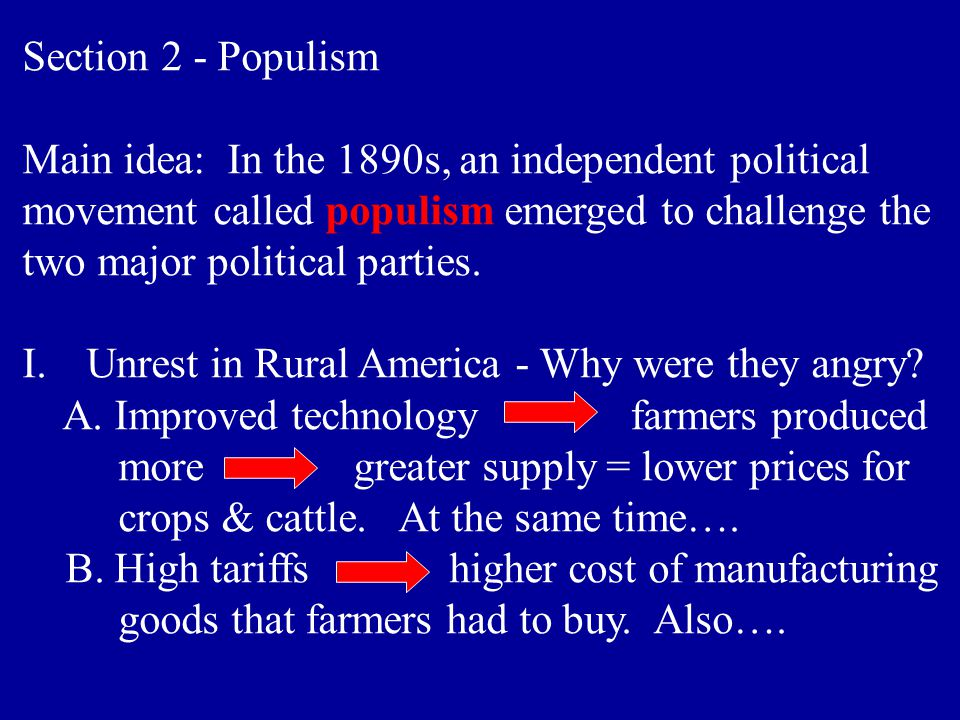 Section 2 - Populism Main idea: In the 1890s, an independent political. movement called populism emerged to challenge the.