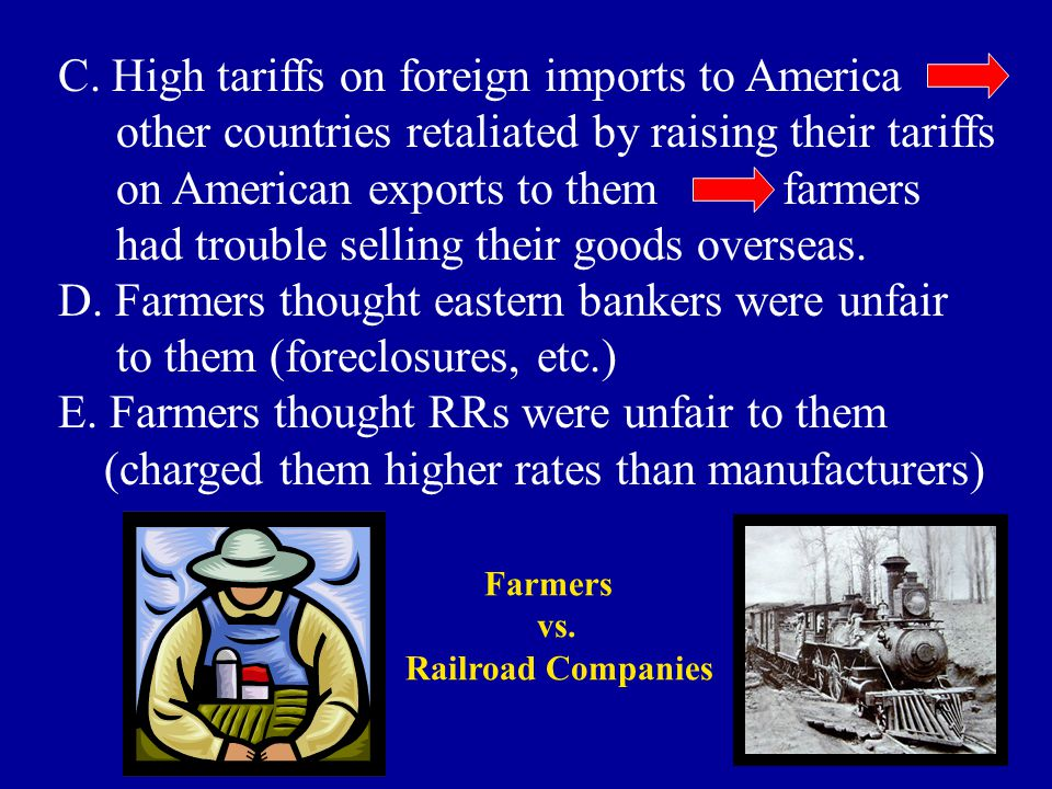 C. High tariffs on foreign imports to America