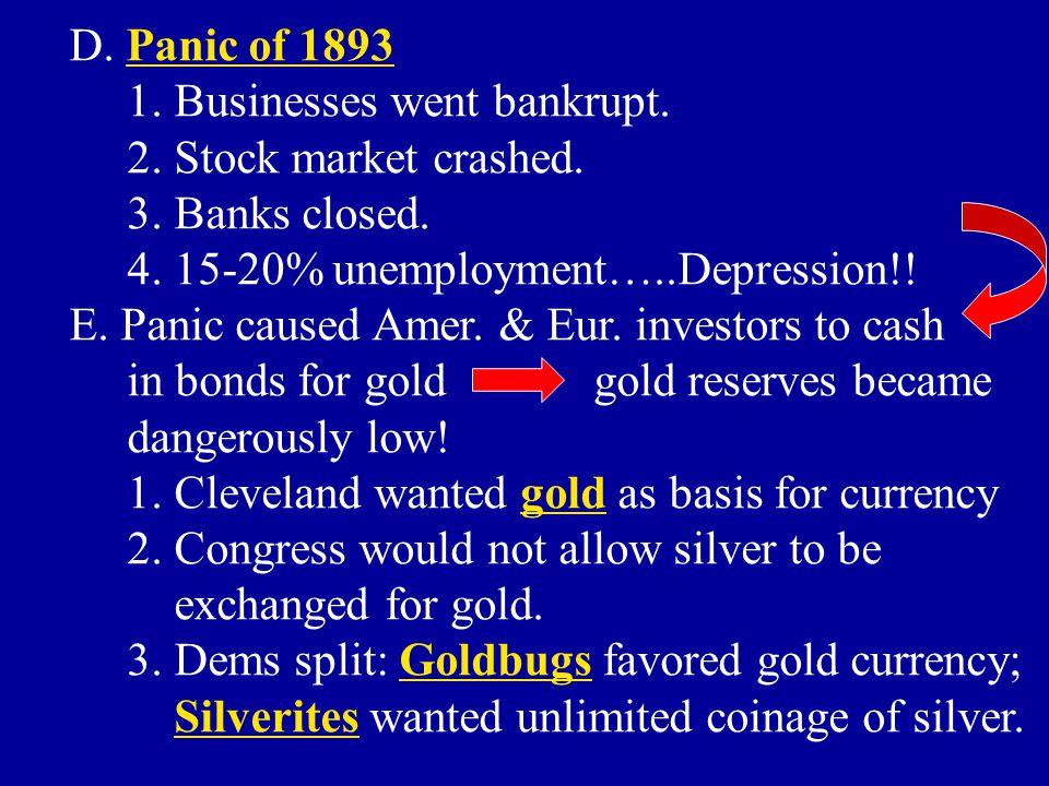 D. Panic of 1893 1. Businesses went bankrupt. 2. Stock market crashed. 3. Banks closed. 4. 15-20% unemployment…..Depression!!