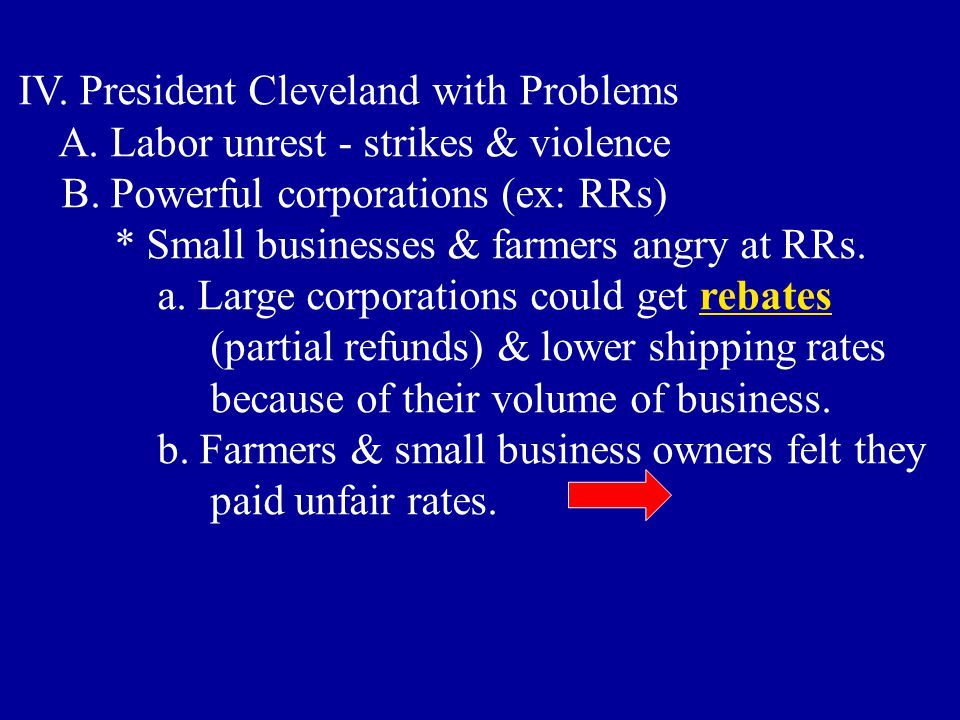 IV. President Cleveland with Problems