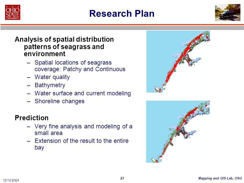 Research Plan Analysis of spatial distribution patterns of seagrass and environment. Spatial locations of seagrass coverage: Patchy and Continuous.