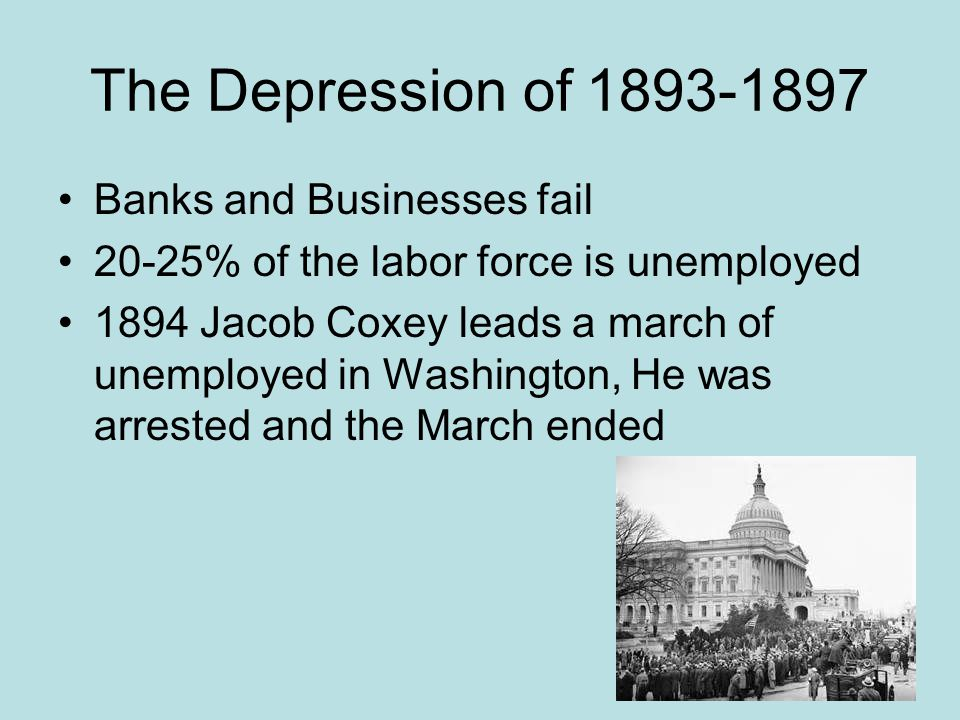 The Depression of 1893-1897 Banks and Businesses fail