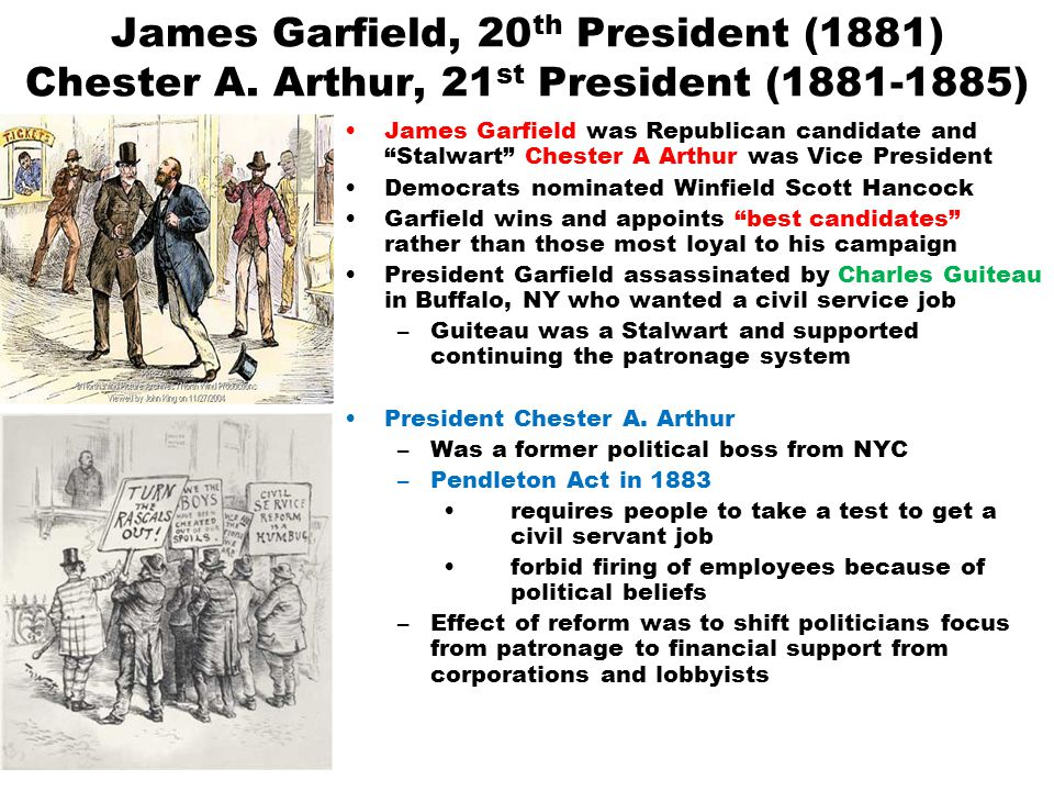 James Garfield, 20th President (1881) Chester A
