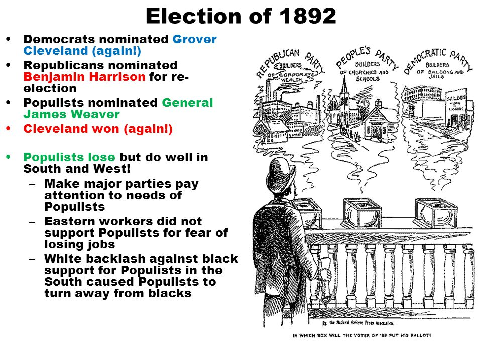 Election of 1892 Democrats nominated Grover Cleveland (again!)