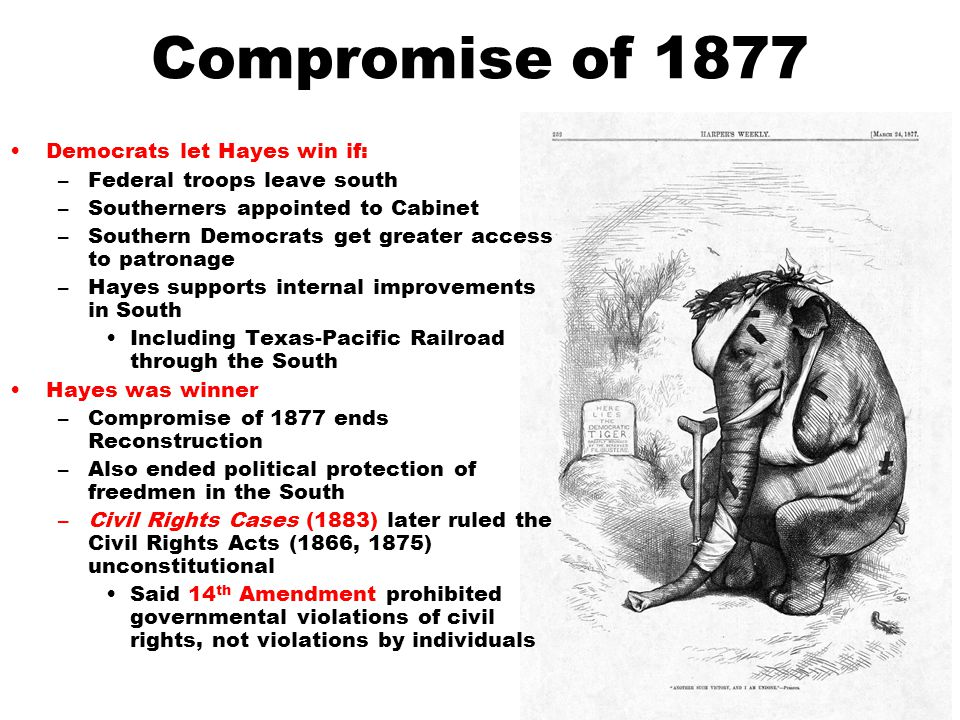 Compromise of 1877 Democrats let Hayes win if: