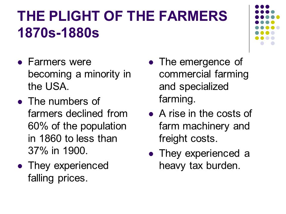 THE PLIGHT OF THE FARMERS 1870s-1880s