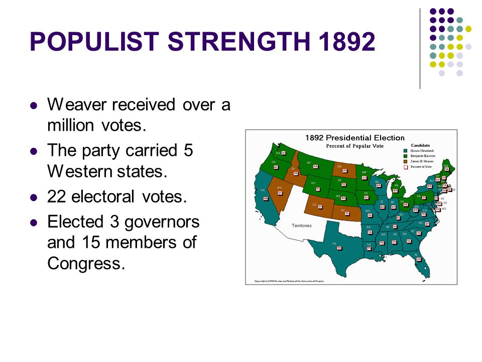 POPULIST STRENGTH 1892 Weaver received over a million votes.