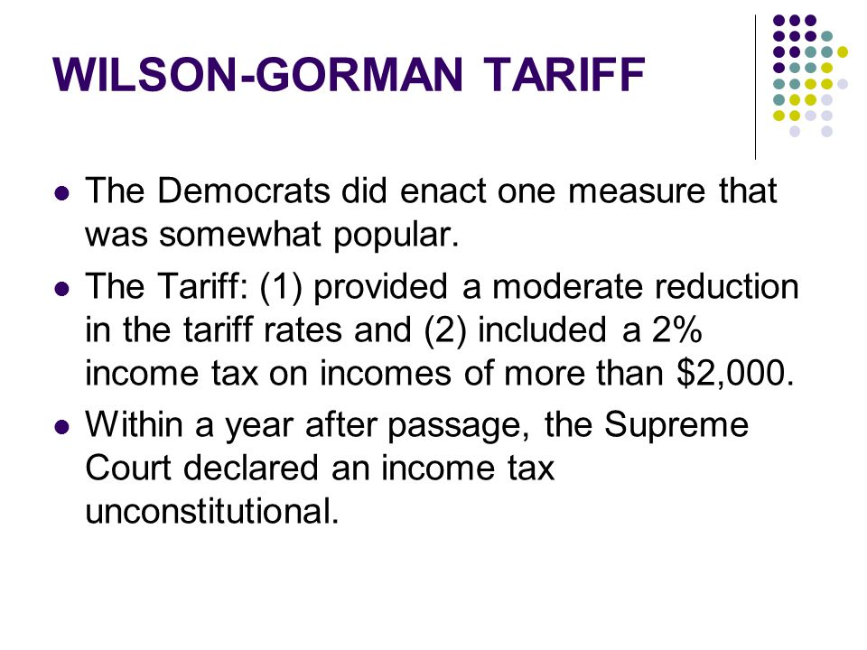 WILSON-GORMAN TARIFF The Democrats did enact one measure that was somewhat popular.