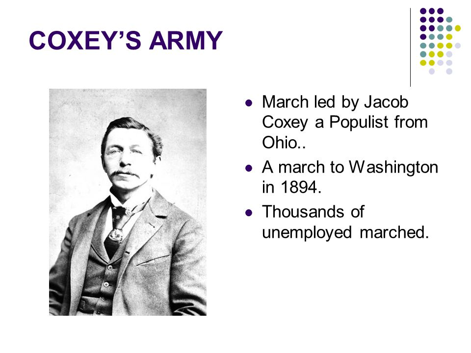 COXEY'S ARMY March led by Jacob Coxey a Populist from Ohio..
